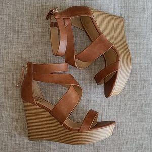 Report Brown Wedge Sandals